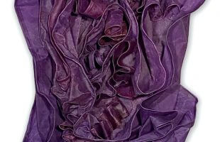 Fathom - Purple Sculptural Painting Construction made out of fabric, pigmented wax, oil, pastel on panel, sized 40 x 22 x 8 inches, by Deborah Winiarski